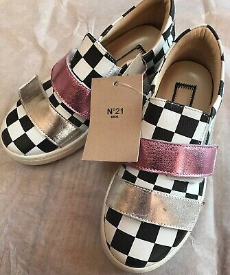 N°21 Made In Italy Shine Fuxia Girls Kids Shoes Sneakers Leather Sz 31 NEW $185