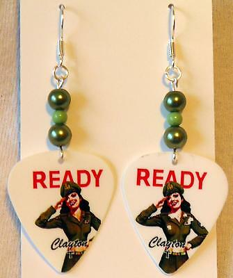 Military Hottie (NEW! Handmade in USA Guitar Pick Earrings with Beads - MILITARY HOTTIES)