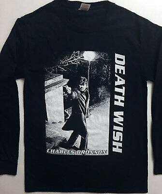 DEATH WISH T shirt LONG SLEEVE Charles Bronson ACTION HORROR Paul Kersey S - XL  ()