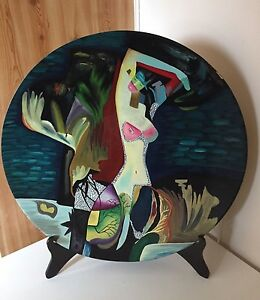 Painted Art - Large Dish and Stand Earlwood Canterbury Area Preview