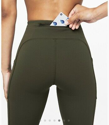 "Lululemon Speed Up Tight 28"" Inseam Med Rise Dark Olive Size 6 Hugged Sensation"