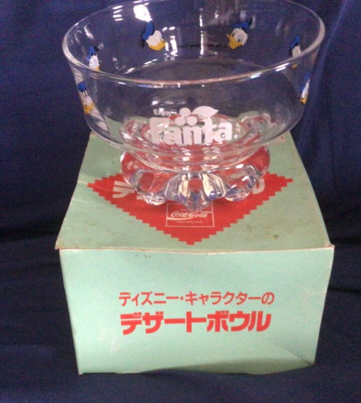 NOS Vintage Donald Duck Fanta Japan  glass bowl Okinawa Coke Coca Cola Disney