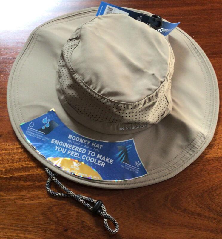 "NEW MISSION Unisex Cooling BOONEY Hat- UPF 50-3.5"" Wide Brim-Cools WhenWet-Khaki"