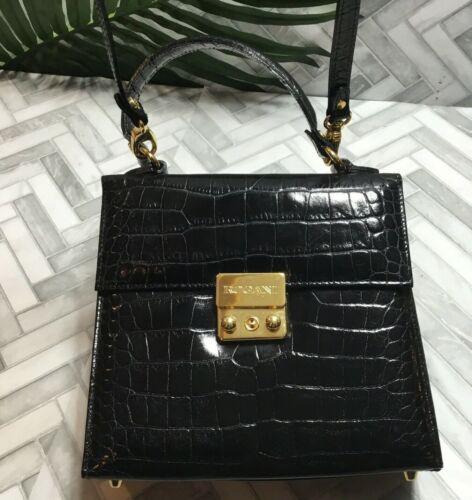 "Rogani Black Crocodile Handbag Purse Mini Small Detach Strap Square Vintage 8"""