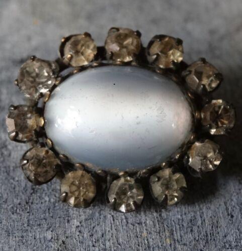 antique Edwardian blue satin glass clear rhinestone flower brooch c pin -A27