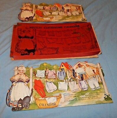 Antique Pair 1931 Die Cut Paper Litho Clothesline Calendar Flip Tabs with Box