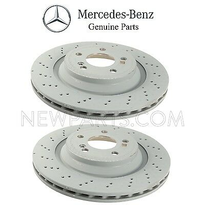 For MB R231 SL400 SL550 Turbo Pair Set of 2 Rear Disc Brake Rotors Vented OES