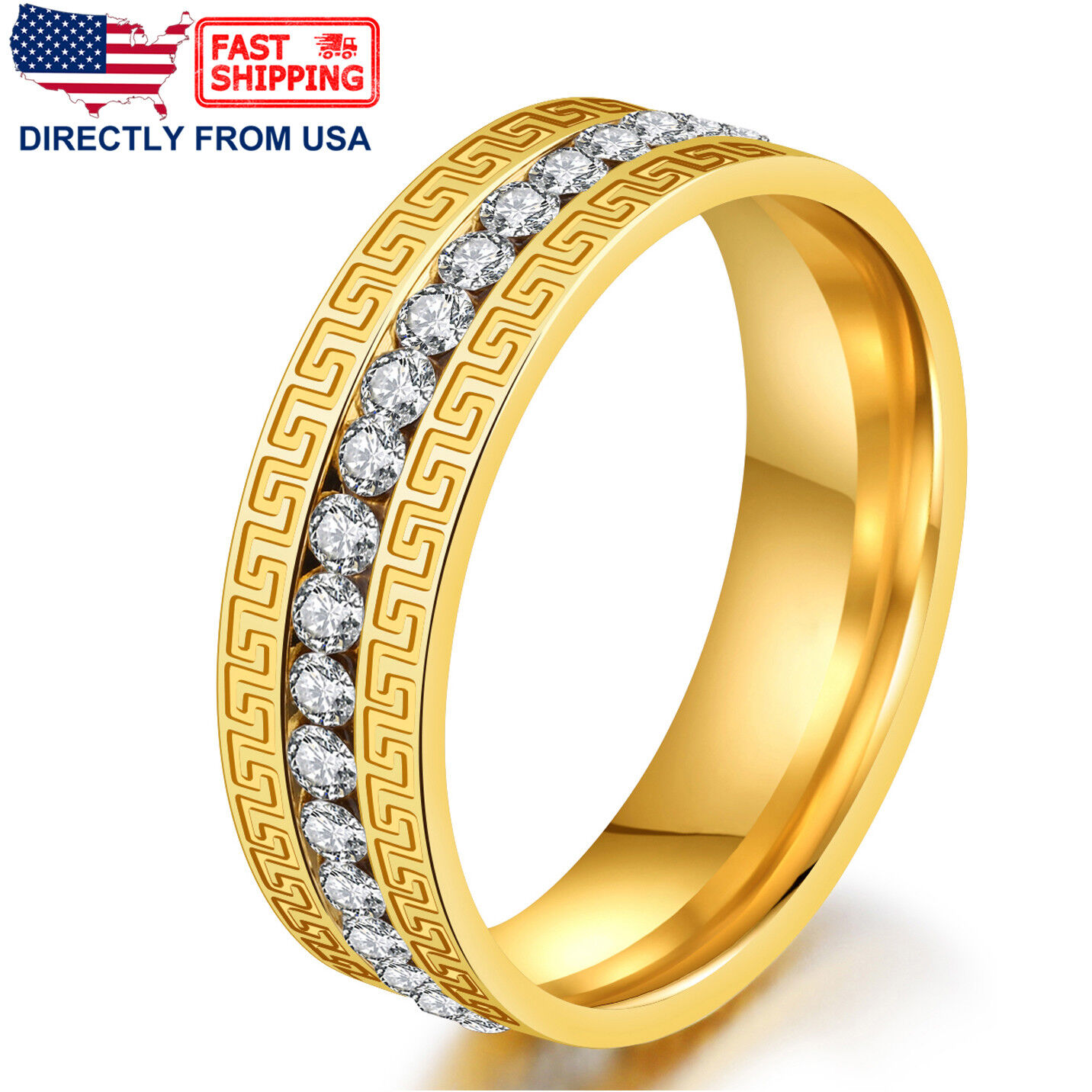 Unisex Ring Stainless Steel Greek Key Cubic Zirconia Comfort Fit Wedding Band Jewelry & Watches