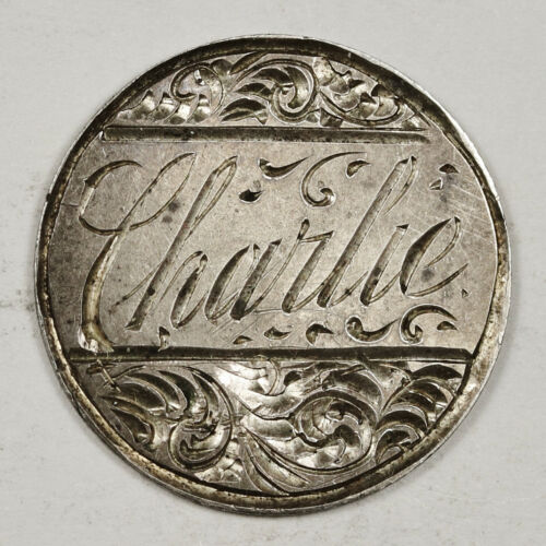 "1857 Liberty Seated Half Dime.  Love Token.  ""Charlie""  148131"