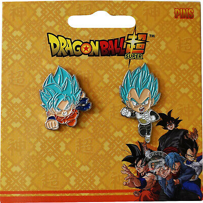 Dragon Ball Super SSGSS Goku & Super Saiyan God Blue Vegeta Metal Pins Set of 2