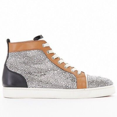CHRISTIAN LOUBOUTIN Louis flat silver strass crystal high top sneakers EU42 US9