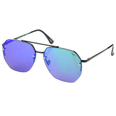 Mens Ocean Blue Mirrored Lens Aviator Designer Fashion Sunglasses Flat (Blue Mirrored Aviator Sunglasses)