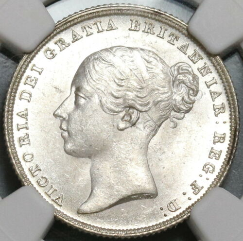 1838 NGC MS 64 Victoria Shilling Great Britain Mint State Silver Coin (17091202D
