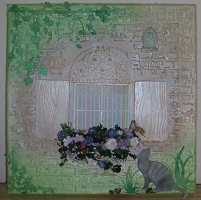 'Birdwatching' Mixed Media Canvas - Approx 12 x 12 inches - Free P & P