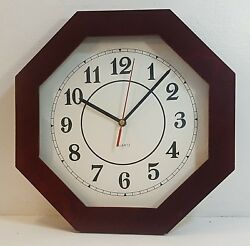 DARK BROWN OCTAGON WOOD FRAME QUARTZ WALL CLOCK