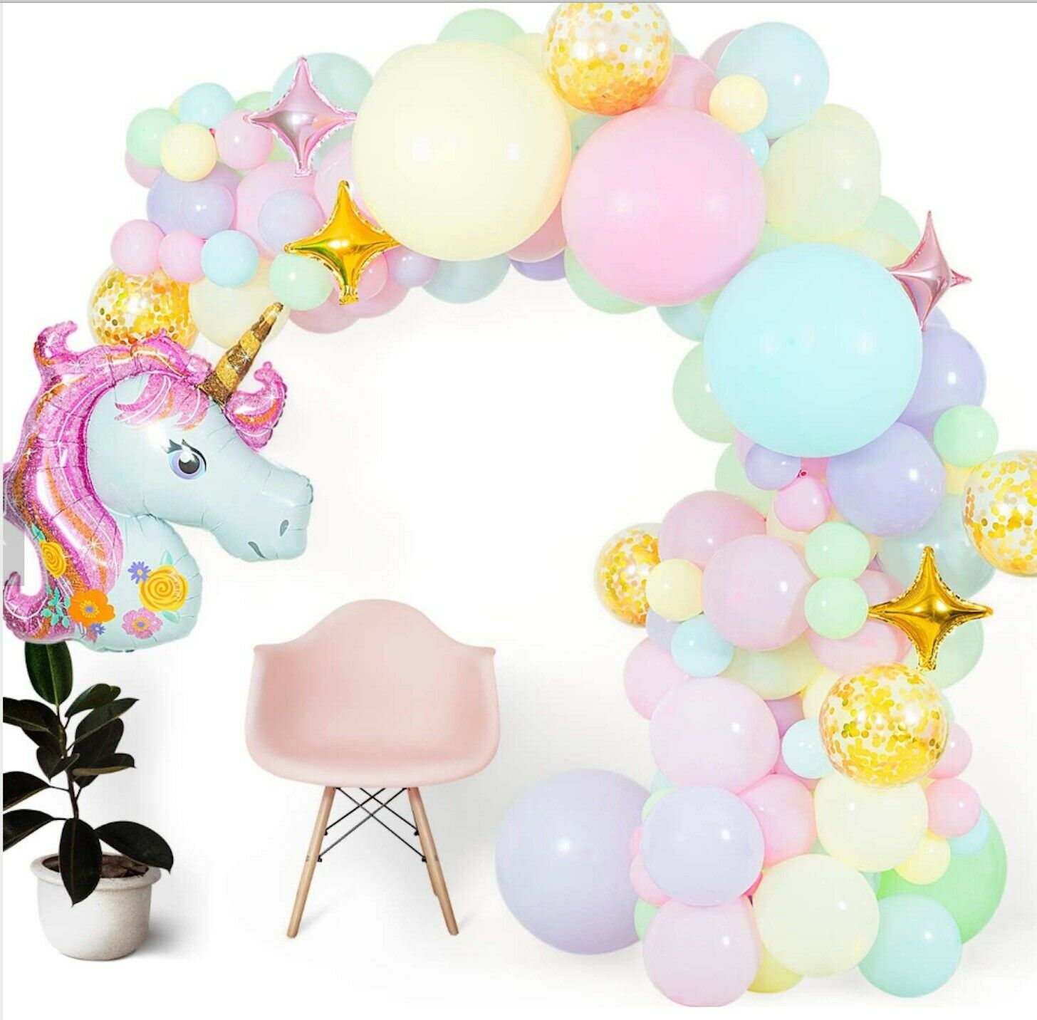 Colorful Unicorn Themed Birthday Balloon Arch, Unicorn Complete Balloon Kit Greeting Cards & Party Supply