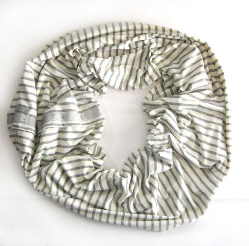 Nuroo Nursing Scarf Cover Up Infinity Gray Stripe Knit Breastfeeding Convertible
