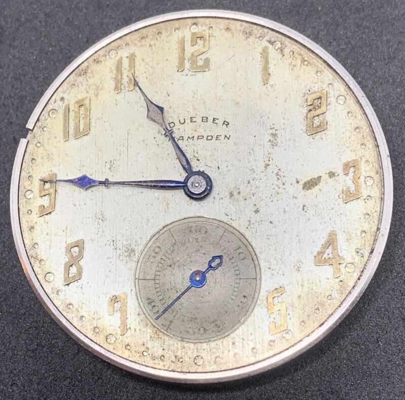 Hampden Dueber Pocket Watch Movement 12s 17j Openface Parts Repair F2617