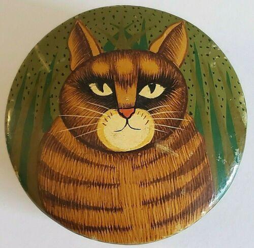 Vintage India Papier Mache Orange Tabby Cat Trinket Box Hand Painted Paper Mache