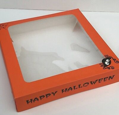 2 x HALLOWEEN TART CAKE PETIT FOUR Window SWEET BOXES Orange Sugarcraft spooky (Halloween Petit Fours)