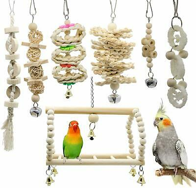Nice! Bird Toys Set of 7 Wooden Hanging Toys for Love Birds, Parakeets, Parrots,