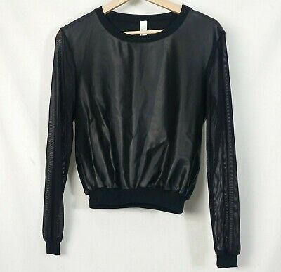 American Apparel XSmall Black Coated Sweatshirt Top Mesh
