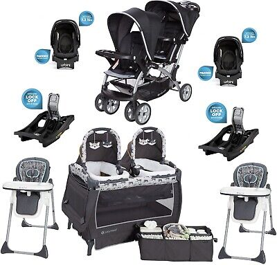 Double Stroller Toddler Seat - Twins Double Stroller Combo Set 2 Car Seats Playard Two Bases Baby Travel System