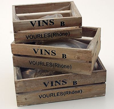 Deko Holz Weinkiste 3er Set Holzkiste Regal Holzbox shabby rustikale Kiste Box