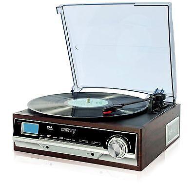 Schallplattenspieler Plattenspieler mit Radio Retro Holz Nostalgie Design AUX IN