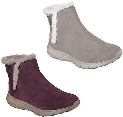 Skechers Ankle Boots Womens On-The-Go 4 Cozies Lightweight Suede Slip On -