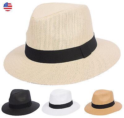 Summer Panama Wide Large Brim Fedora Straw Hat Cuba Ecuador Style Outback Men