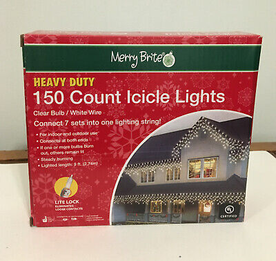 Merry Brite 150 Heavy Duty Count Icicle Lights clear bulb 9 ft