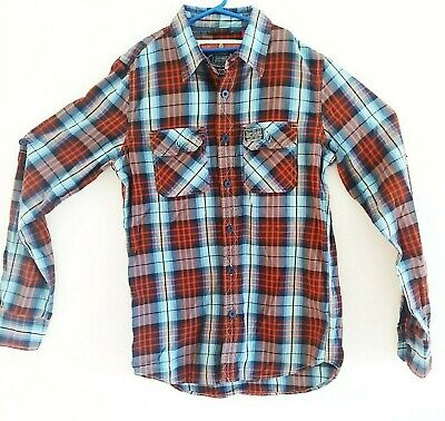 Superdry Denim Plaid Button Down Shirt Long Sleeve Multi Color Mens Size Medium