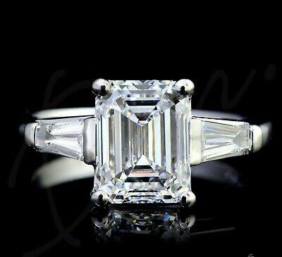 3.24 Ct Three Stone Emerald & Baguette Cut Diamond Engagement Ring H,VS2 GIA