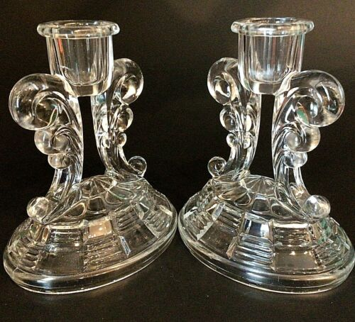 """VINTAGE GLASS CANDLE STICKS SET OF TWO 5 1/2"""" 1"""" OPENING"""