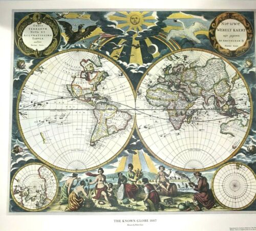 The Known Globe 1667 Map Print by Pieter Goos American Heritage Magazine 24 x 18