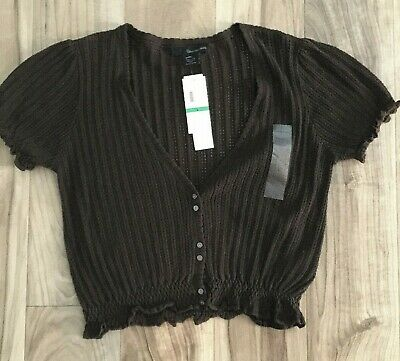 NWT Calvin Klein Jeans Button Front Knit Top Size L Womens Short Sleeve $69 NEW
