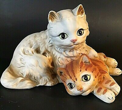 "VINTAGE CAT FIGURINE BISQUE HAND DECORATED GINGER TIGER & WHITE CAT 7"" UCTCI"