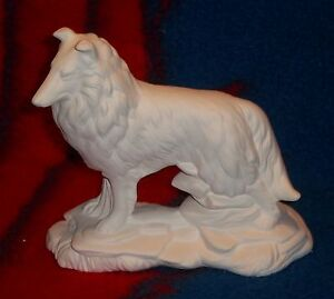 Ceramic bisque u paint standing collie dog on rock base for Ceramic based paint