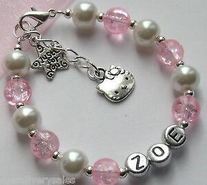 Girls Personalised Bracelet Hello Kitty Friendship Charm Gift Birthday xmas