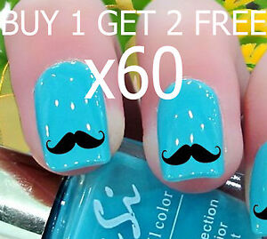 20-Moustache-Nail-Art-Stickers-Water-Transfers-Free-P-P-Post-Today-New