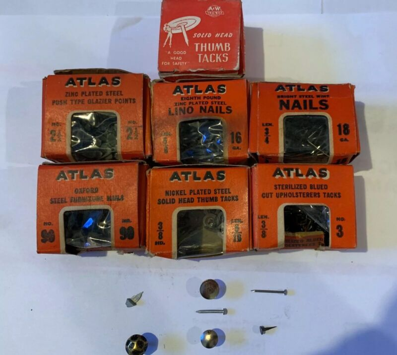 Assorted Vintage Atlas Tacks And Nails