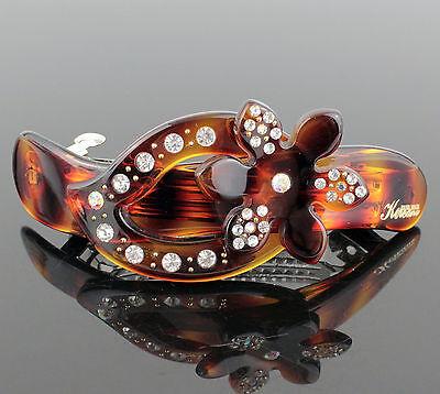 Koreana Flower Amber Acrylic Hair Barrette Austrian Crystal Rhinestone Clip B180