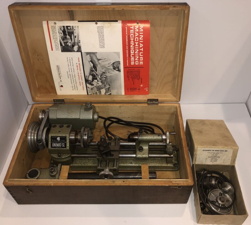 Unimat Model SL DB 200 Lathe With Accessories and Drilling/Milling Column