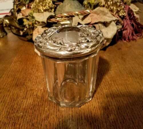 Antique Crystal Dresser Jar Art Nouveau with  Silver Lid