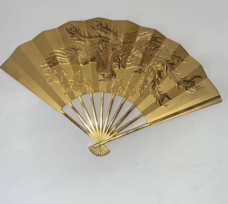 Vintage Asian Brass Dragon decorative wall hanging fans Heavy. MCM1lb 10oz