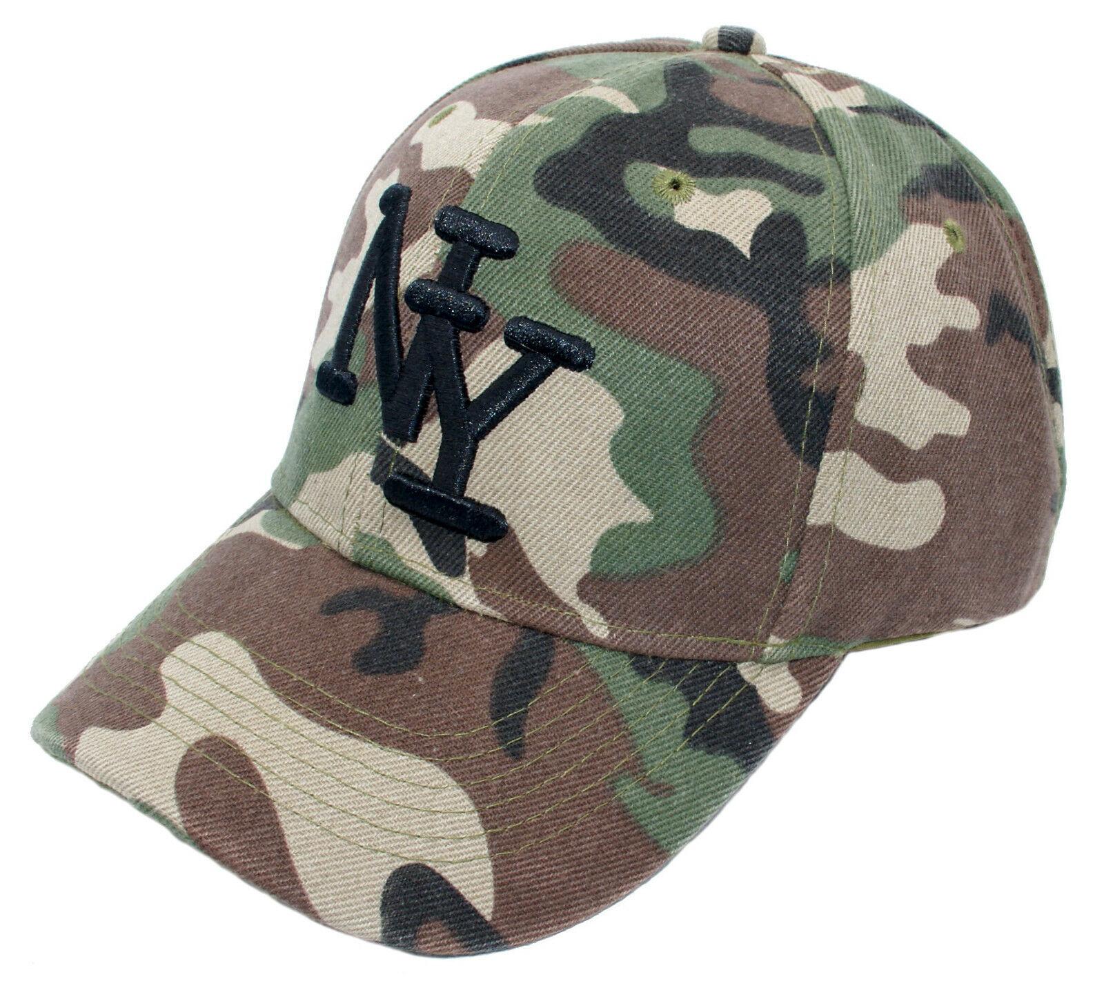 Cappy Armee Cap Kappe NY Camouflage Grün Schwarz Klettverschluss Mütze gebogen