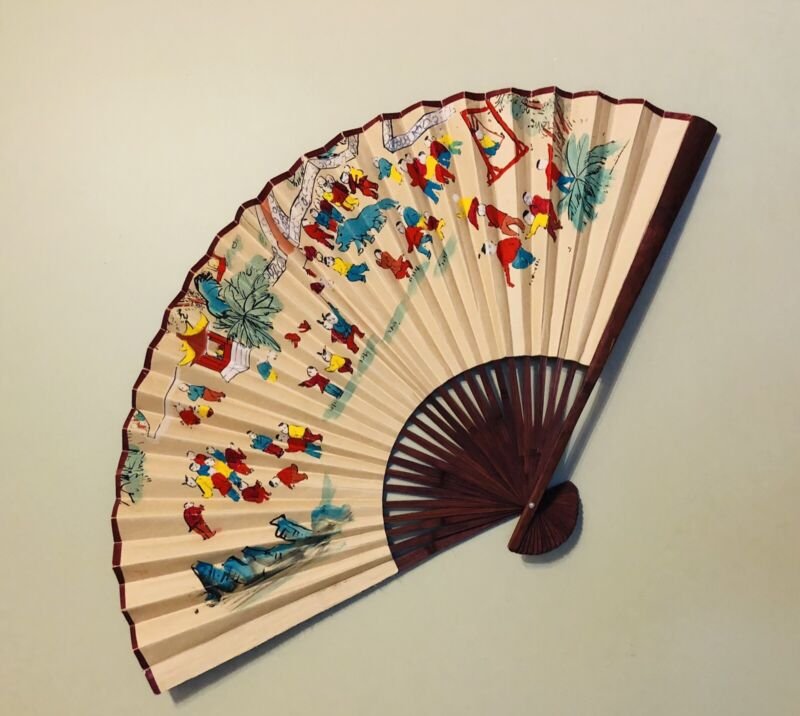 """Very Rare Vintage Asian Large Wall Fan ~ Asian Decor  Hand Painted 40"""""""