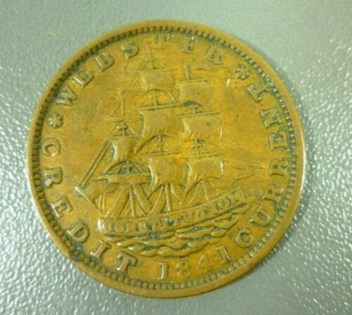 Hard Times Token 1841 Millions for Defence, Not One Cent for Tribute Ship