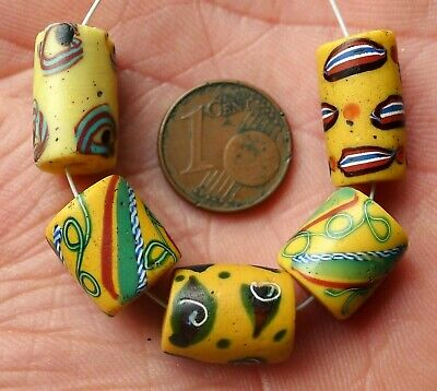 Pearl Millefiori Antique Murano Africa Tensor Clear Venetian Glass Trade Bead B7